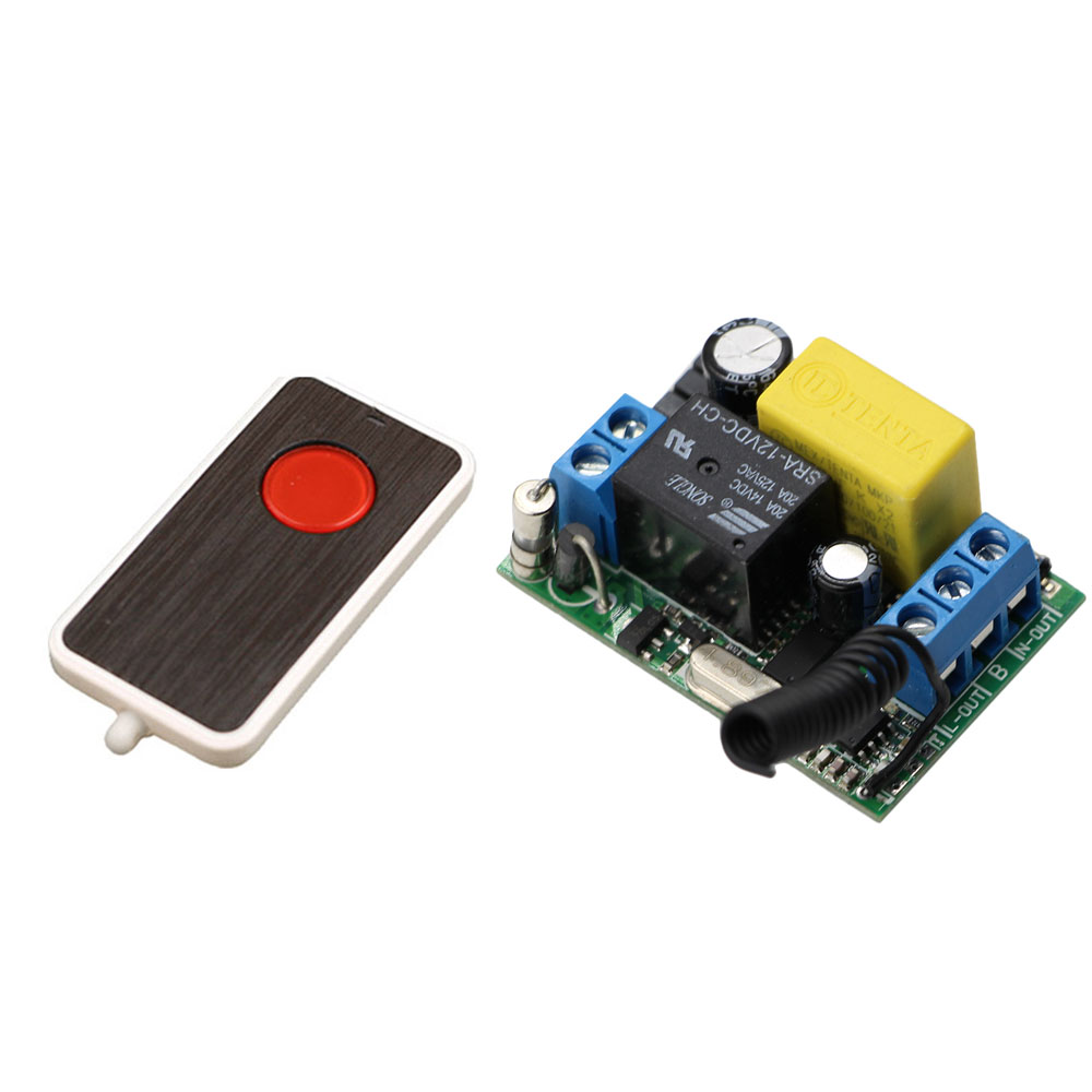 220V AC 1 Channel Relay 10A Remote Control Switch RF Wireless Light Lamp LED Remote ON OFF Switch Transmitter and Receiver 220v ac 10a relay receiver transmitter light lamp led remote control switch power wireless on off key switch lock unlock 315433