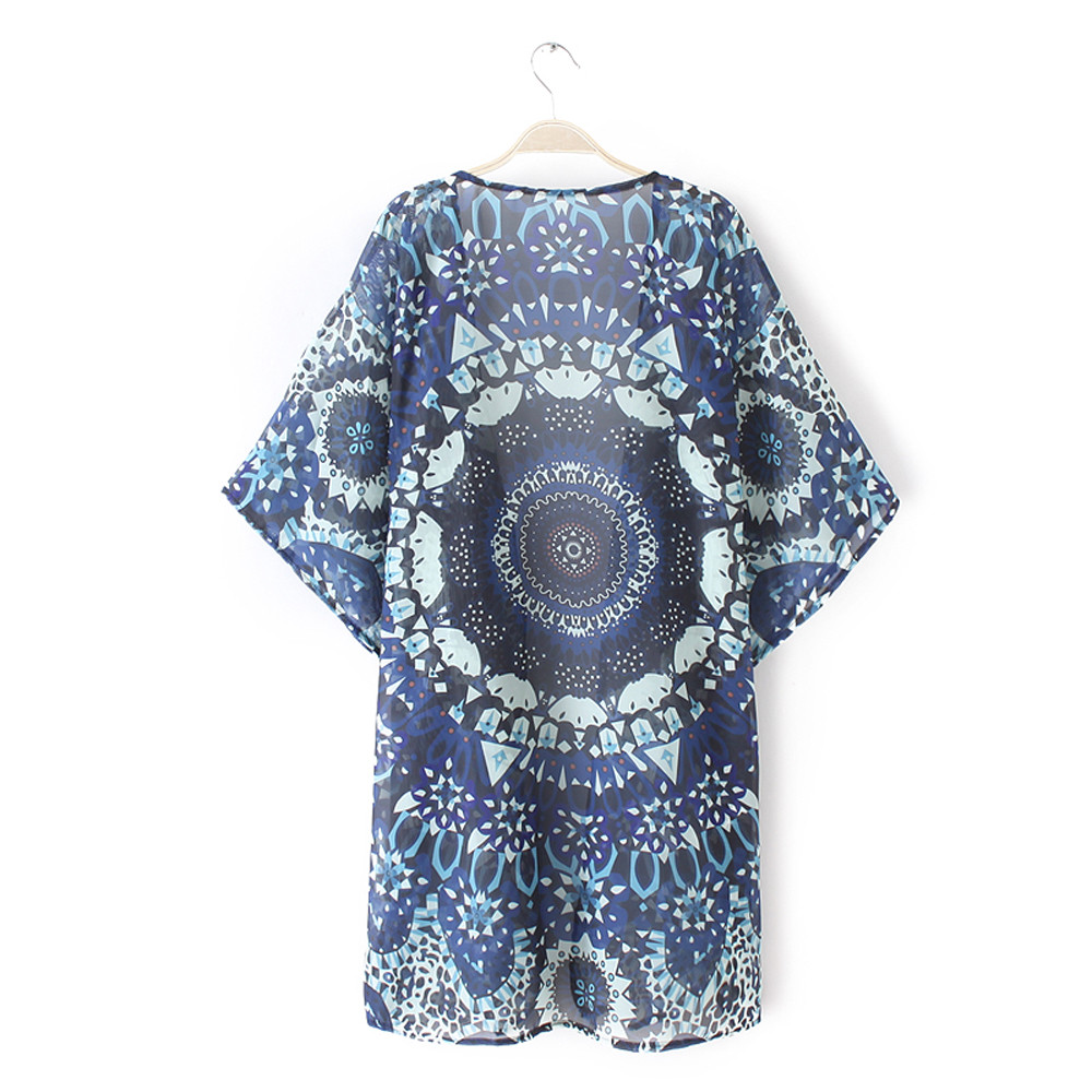 Women Mandala Floral Beach Kimono Blouse Chiffon Cardigan Shawl Cover up Tops AU