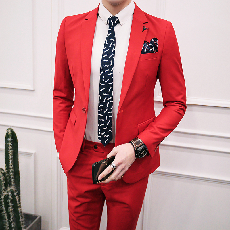 5 Colors Solid One Button Suit Male Business Casual Slim Fit Costume Homme Anzug Herren Black Blue Slim Fit Suit ( jacket+pant)
