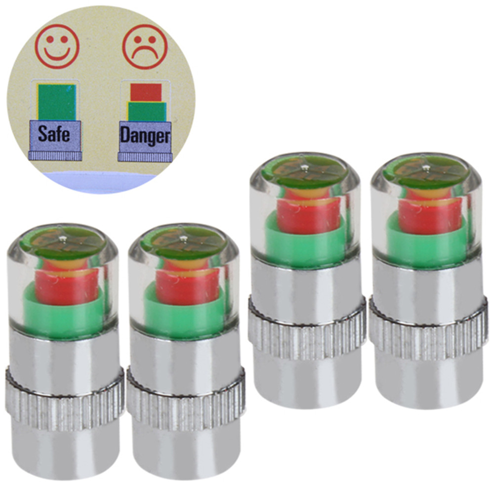 Waterproof 4 X 2.4 Bar Car Tyre Tire Air Pressure Monitoring System Alert Tire Valve Stem Caps For Auto Car Vehicle Track