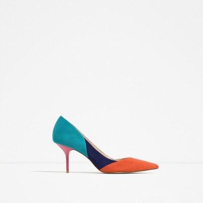 Новые модные женские туфли лодочки постепенно меняется цвет обувь на высоком каблуке женские пикантные туфли с острым носком на тонком каб