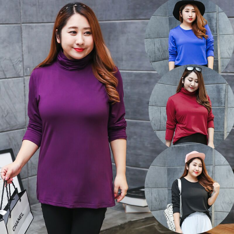 280 pounds can wear long sleeved turtleneck size new autumn and winter milk soft and comfortable silk shirt T-shirt 261
