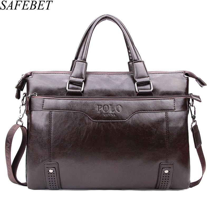 SAFEBET Brands Men Fashion Briefcase Business Shoulder Bag Leather Messenger Bags Computer Laptop Handbag Bag Men's Travel Bags safebet brand crocodile pattern fashion men shoulder bags high quality pu leather casual messenger bag business men s travel bag