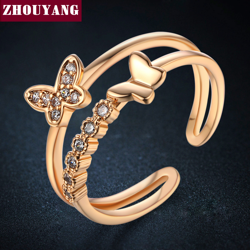 2016 New Butterfly Cubic Zirconia Rose Gold Color Fashion Resizable Ring Jewelry For Women Party ZYR349