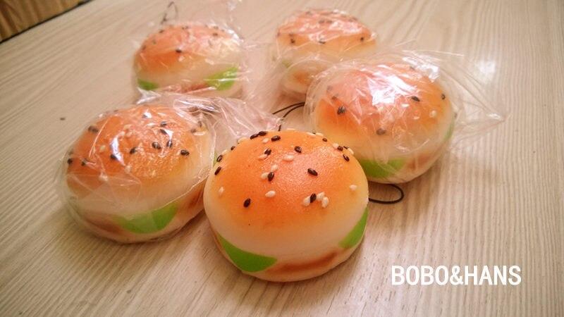 imágenes para Nueva hamburguesa linda sésamo encanto blando / PU correa del teléfono móvil / venta al por mayor