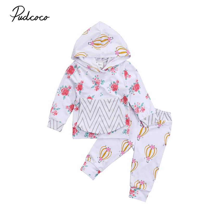 0-24M Baby Girl Clothes Tops Hooded Long Sleeve Floral Sweatshirt Pants 2pcs Cute Girls Clothing Outfits