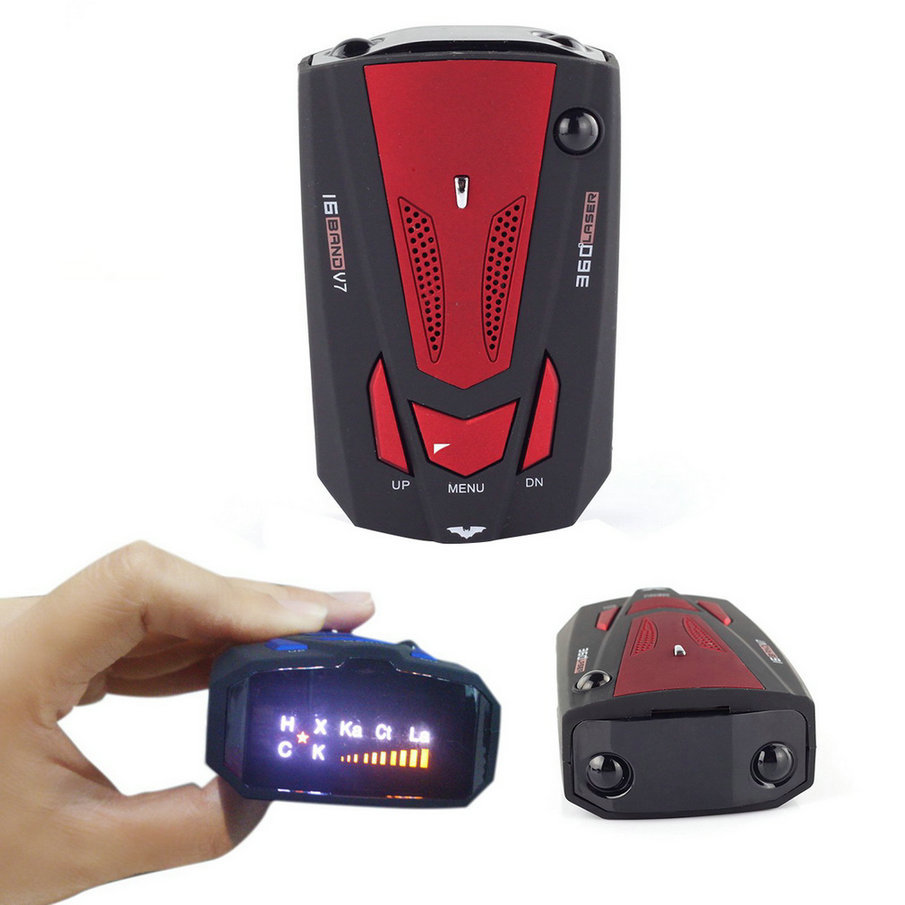 EDFY New Car Radar Detector 16 Band Voice Alert Laser V7 LED Display ...