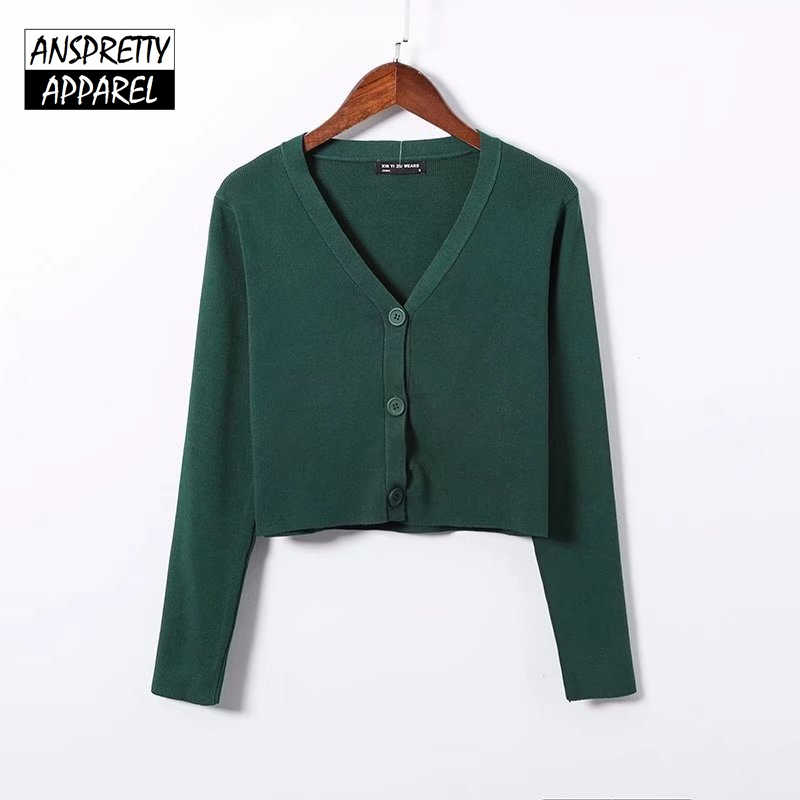 Anspretty Apparel single breasted knitwear women v neck crop sweater  buttons knitted cardigan ladies short tops 29cf7dd9b