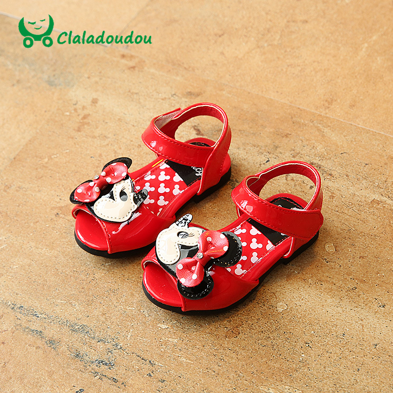 Claladoudou 11 5 13 5CM Kids Sandals Cartoon PU Leather Baby Girls Minnie Mouse Sandals White