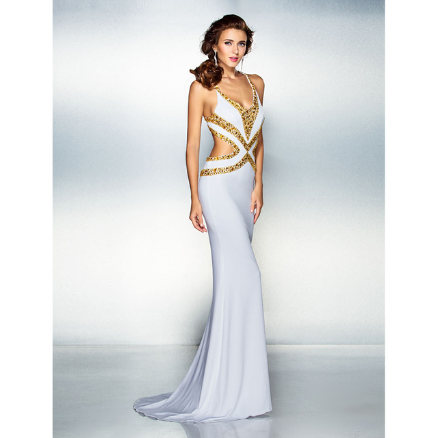 86624e43885 TS Couture Mermaid Trumpet V Neck Sweep Brush Train Jersey Prom Formal  Evening Dress with Beading Crystal Detailing