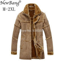 NewBang Brand Fashion Men Winter Leather Jacket Brown Leather Jacket
