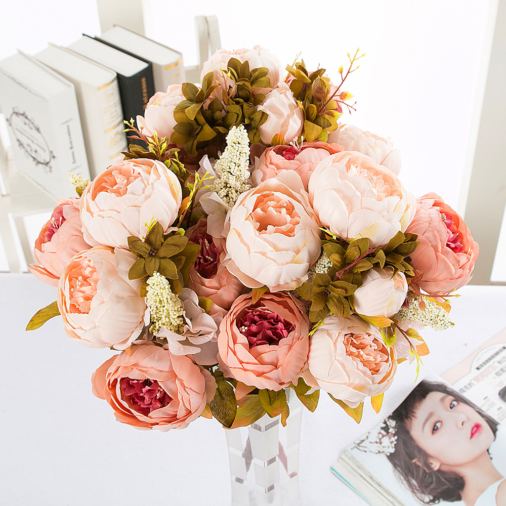 12 Headbouquet Silk Peony Fake Flowers For Home Wedding Decoration