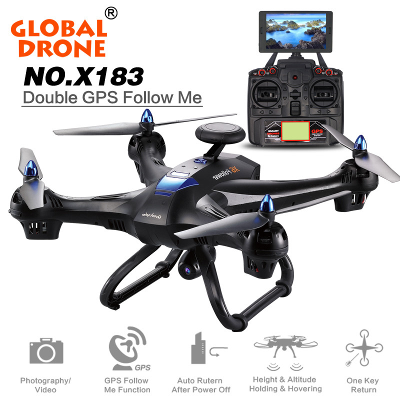 Mini RC Global Drone 2.4G 6 Axis X183 Gyro Quadcopter With 2MP WiFi FPV HD Camera GPS Brushless Mode Remote Control Toys Gifts mini rc global drone 2 4g 6 axis x183 gyro quadcopter with 2mp wifi fpv hd camera gps brushless mode remote control toys gifts