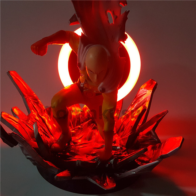 ONE PUNCH MAN Action Figure Saitama Sensei Led Light Back PVC 230mm Anime ONE PUNCH-MAN Collectible ONE PUNCH MAN Model Toy