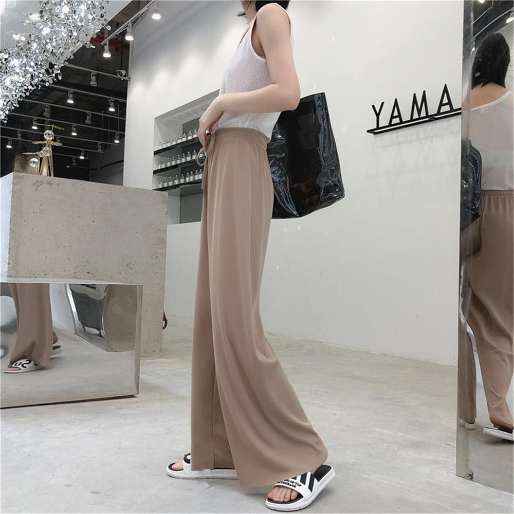 Mopping   wide     leg     pants   female spring summer draping loose trousers straight   pants   elastic high waist long ice silk casual   pants