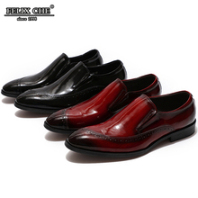 FELIX CHU Fashion Mens Black Red Shoes Casual Wedding Men Slip On Genuine Leather Loafers Comfortable Pointed Male