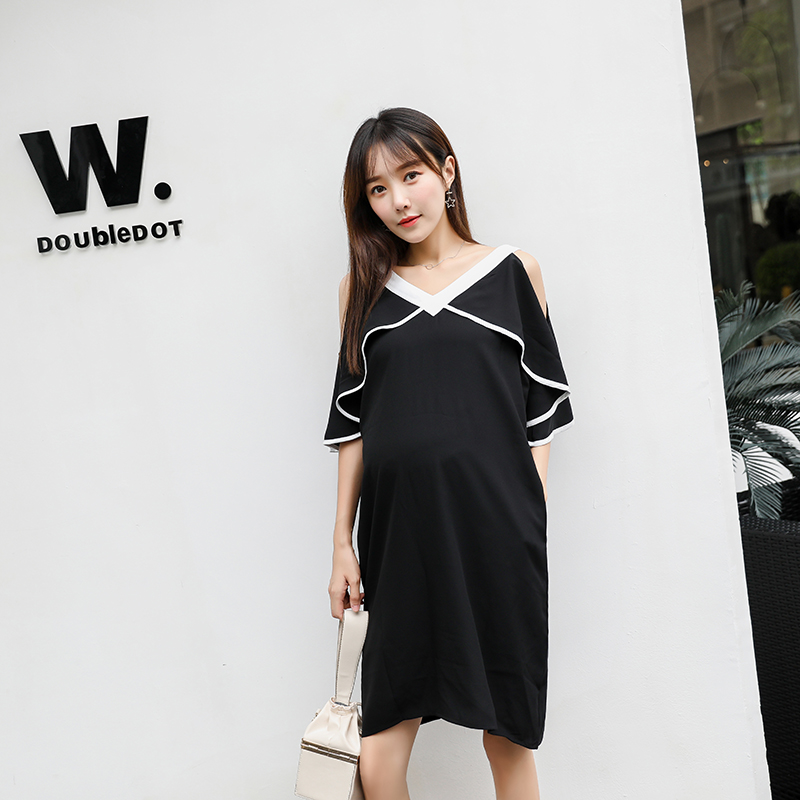 61c52bdfb6b86 6619# V Neck Shoulder Off Black Chiffon Maternity Dress Summer Korean  Fashion Clothes for Pregnant Women Sexy Pregnancy Clothing-in Dresses from  Mother ...