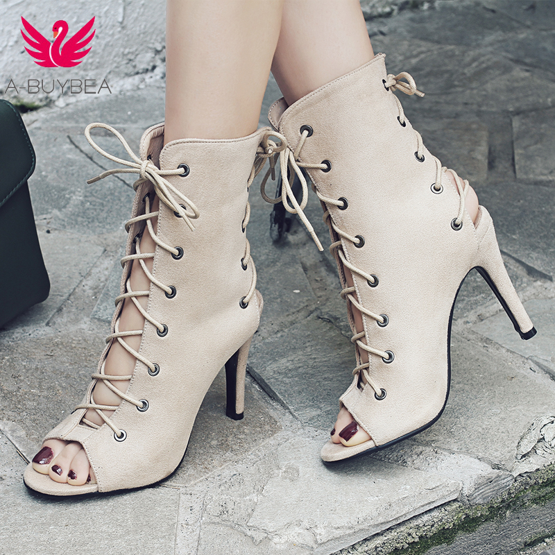 A-BUYBEA Summer ankle boots <font><b>2018</b></font> new fashion <font><b>sexy</b></font> ankle tie <font><b>sandal</b></font> high heels thin heels summer shoes classic cross tied shoes image