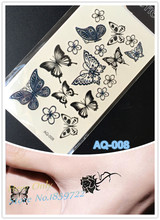 2016 Butterfly and lovely flower sparkle tattoo flash Butterfly tattoo arm black tatto sticker fake tattoos for girl fashion
