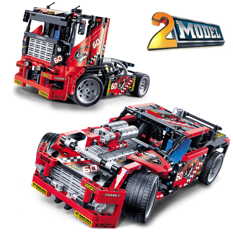 Decool Technic City Series 2 Model Race Truck Car Building Blocks Bricks Model Kids Toys Marvel Compatible Legoe