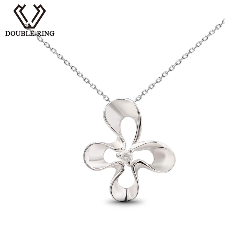 DOUBLE-R Flower Pendants Women 0.03ct Diamond 925 Silver Plant Pendants Romantic Gift Diamond Jewelry Customized CAP03763SA-1 double r women necklace pendants 0 03ct diamond 925 sterling silver pendants with long chains diamond jewelry cap03755sa 1