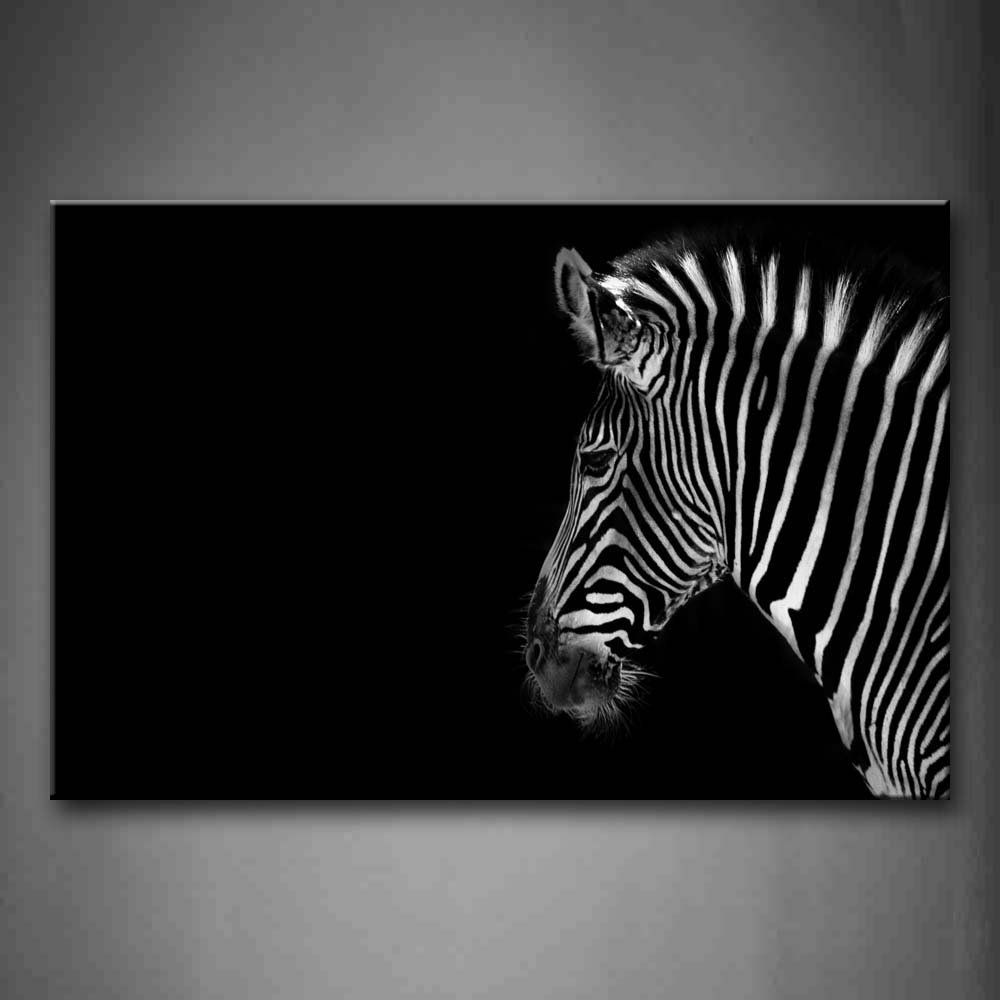 online buy wholesale zebra art prints from china zebra art prints  - black and white portrait of zebra head black background wall art paintingpictures print on canvas