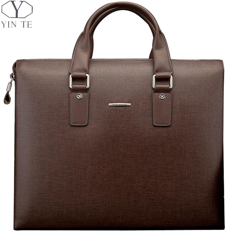 YINTE Men's Handbag Fashion Brown Bags High Quality Business Men Totes Messenger Shoulder Bag Attache Case Men Portfolio T8342-5 free shipping men genuine leather briefcase brown color high quality fashion business messager shoulder attache portfolio totet8