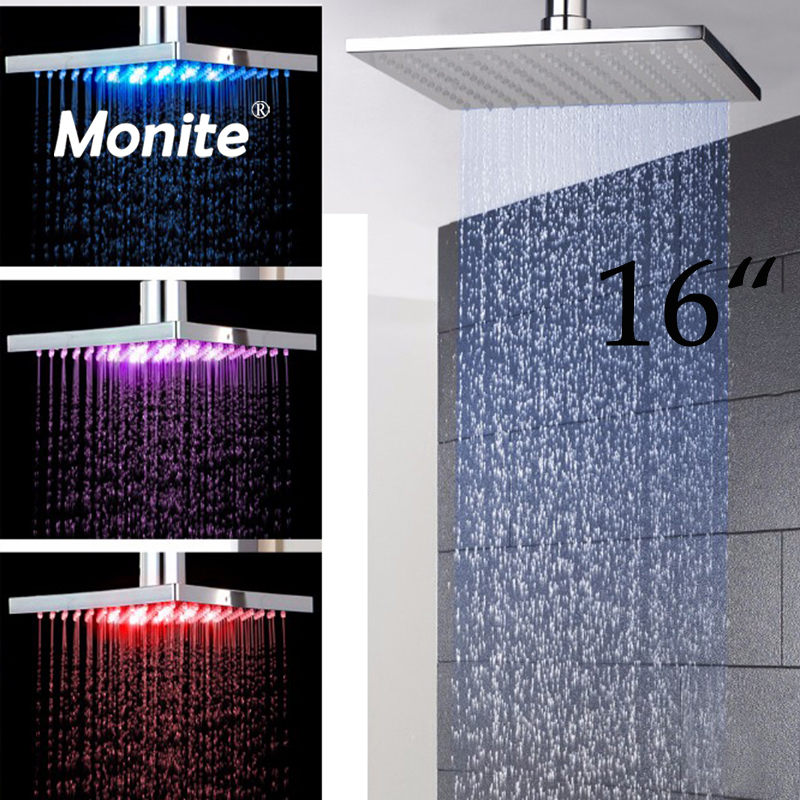 LED 16 Inch Rain Shower Head LED Stainless Steel square Shower Head Bathroom thicker model squared Shower Head ydl bd005 1 16 temperature control 24 led rgb light 304 stainless steel square shower head silver