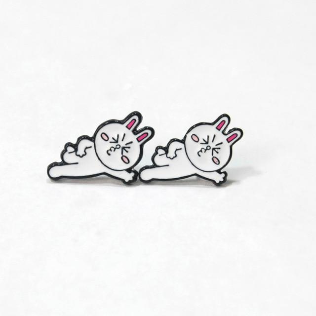 Сережки гвоздики с кроликом Сплав 2