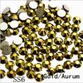 Super Brilhante ss6 (1.9-2.0mm) Aurum/Ouro Pedrinhas Para Nail Art 1440 unidades/pacote, FlatBack Não Hotfix Cola Em Nail Art Strass