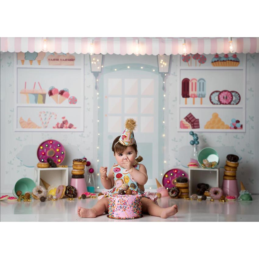 Image 2 - Candy Bar Ice Cream Parlor Celebration Background Baby 1st Birthday Donut Party Banner Photography Backdrop for Photo BoothBackground   -