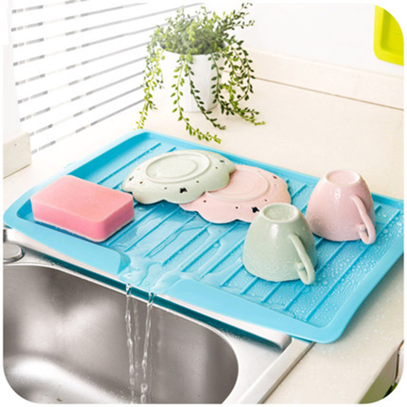 2016 New Storage Plastic Tray Sink Dish Drainer Vegetable Fruit Drying Rack Washing Holder Organizer Tray For Kitchen Tools