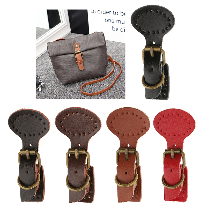 10 x Leather Buckles Purse Hasp Clasp Buttons DIY Bag Accessory Brown Black