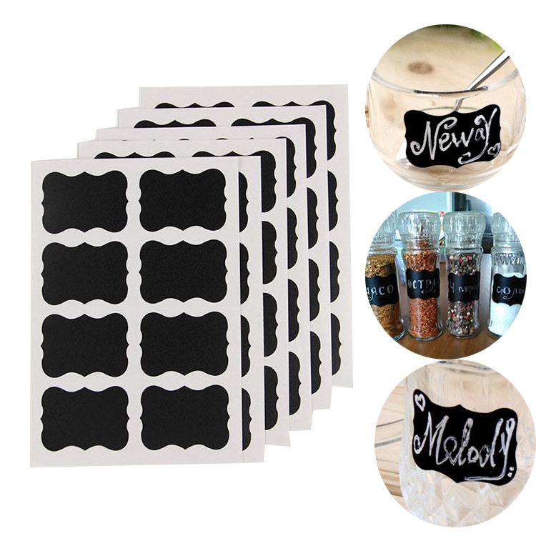 48pcs/Lot Black Chalk Pen Chalkboard Sticker Home Kitchen Bar Bottle Cup Label Tags DIY Planner Album Adhesive Stickers