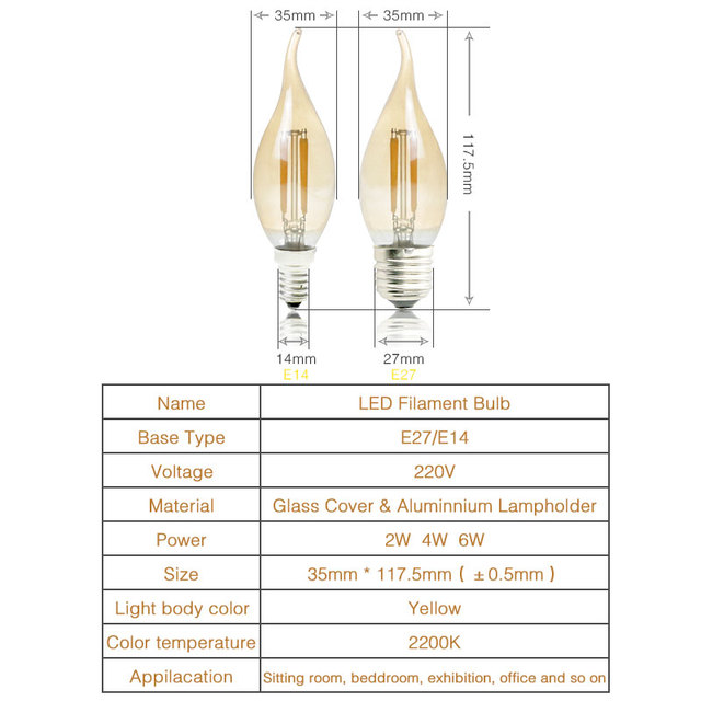 Dimmable LED Filament Candle Light Bulb New E14 E27 AC 220V 2W 4W 6W C35 LW Vintage Edison Bulb for Chandelier Warm White 2200K