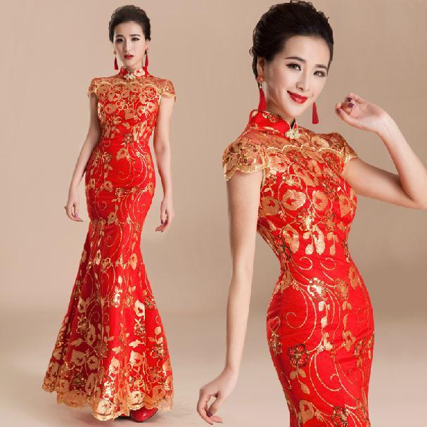 Red Wedding Gowns 2014: Fashion New 2014 Cheongsam Vintage Mermaid Wedding Dresses