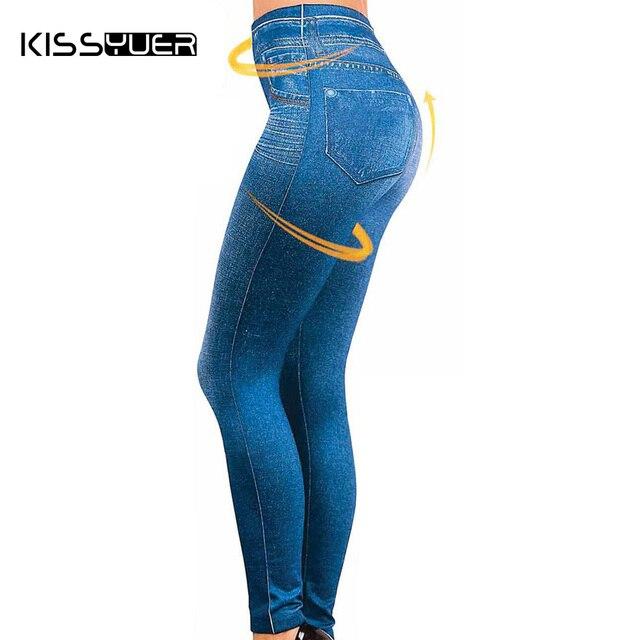 f4295ae3aac Dropship Leggings Jeans for Women Denim Pants with Pocket Slim Jeggings  Fitness Plus Size Leggins S-XXL Black Gray Blue KL0055