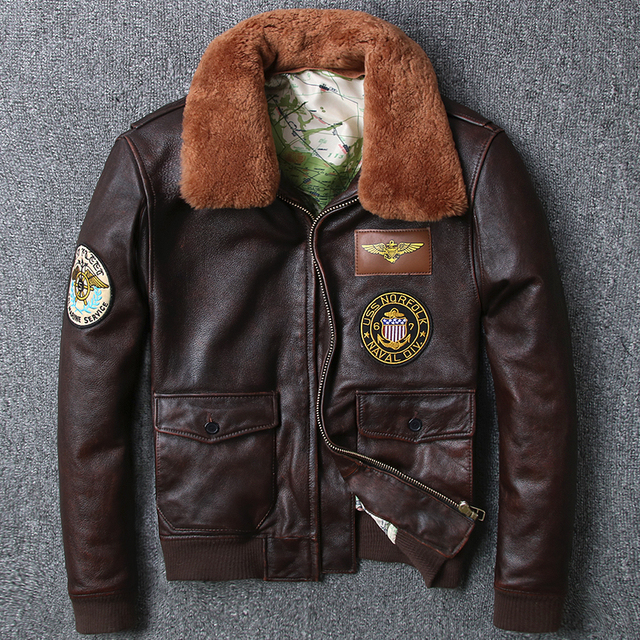 2018 US air force flight jacket men fur collar genuine leather jacket men  brown cow skin e4ffbfd747e