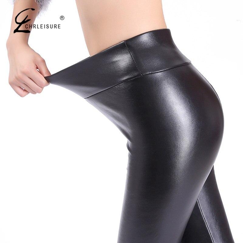 CHRLEISURE mujer Leggings de cuero de talla grande alta cintura Leggings moda PU cuero negro Legging Streetwear lápiz Pantalones Mujer