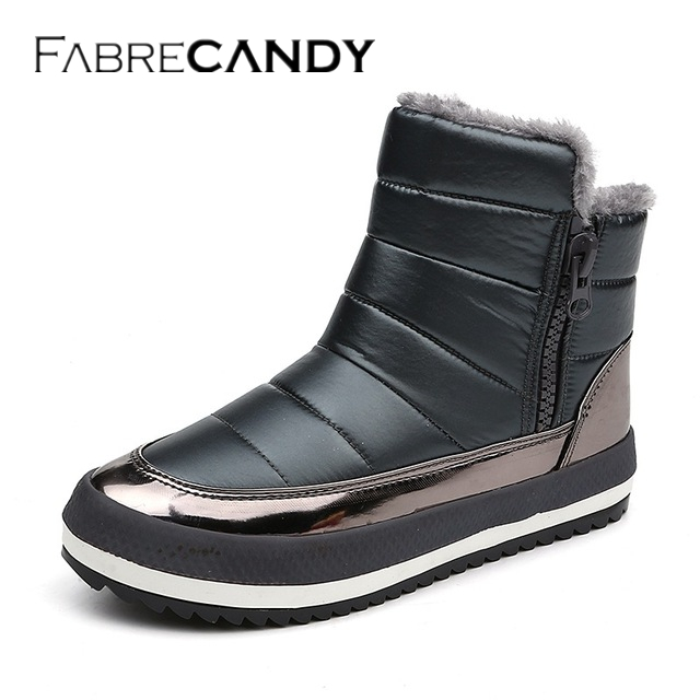 FABRECANDY Women boots 2017 warm plush winter shoes women snow boots high quality fashion zipper ankle boots 02