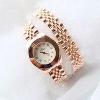 Hot Sale Women Brand Luxury Rose Gold Steel Long Band Two Circle Watch Women Luxury Pink Crystal Stylish Bracelet