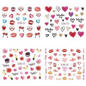 Image 5 - 12 デザインバレンタインネイルステッカーハートローズレッド唇ギフト水転写デカール装飾アートマニキュア TRBN745 780