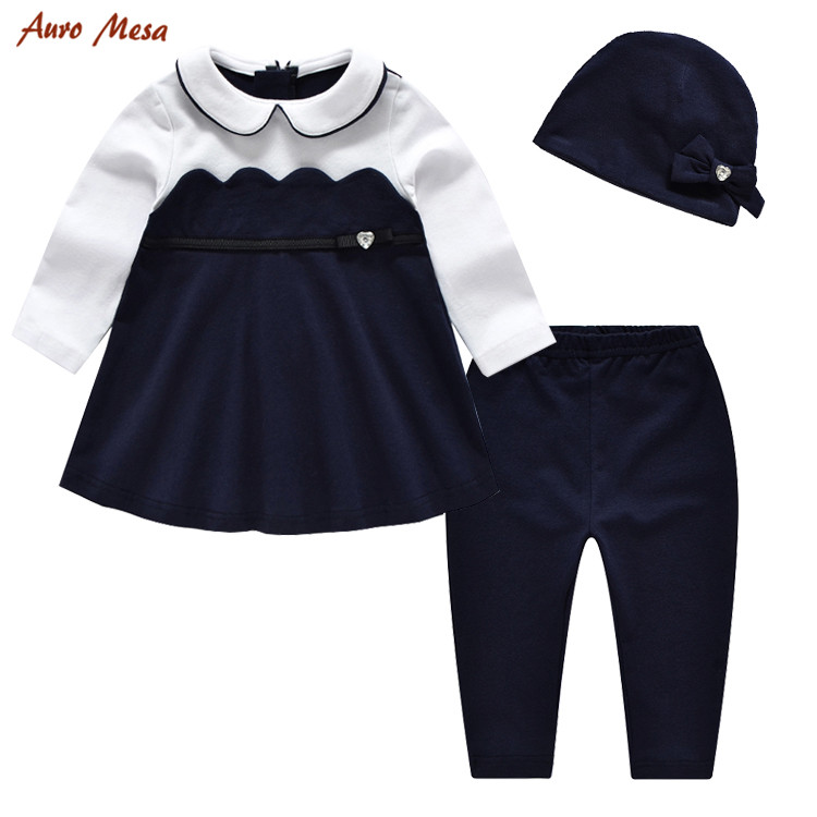 Fashion  Baby Girl Set Autumn 3pcs Sets Full Tops +Pant+Hat Infant Girl Birthday Clothes Outfit