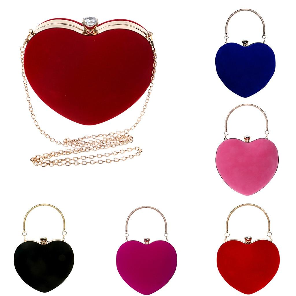 Bag Totes Clutch Wedding-Purse Cross-Bag Evening-Handbag Suede Banquet-Shoulder Heart-Shaped