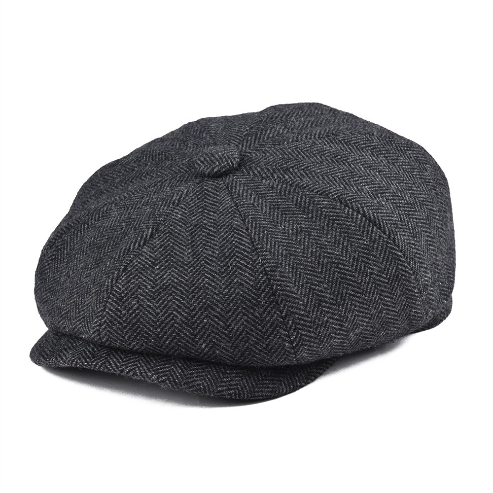 BOTVELA Tweed Wool 8 Piece Black Herringbone Newsboy Cap Men Classic 8-Quarter Panel Style Flat Caps Women Beret Hat 005