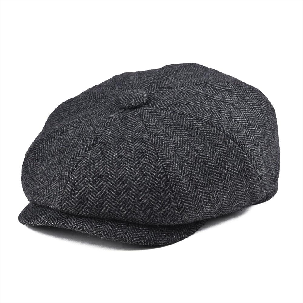 BOTVELA-casquette Newsboy pour hommes   Casquette en laine Tweed 8 pièces, noire, chevrons, casquette classique 8-quarts, panneau, casquettes plates, chapeau béret 005
