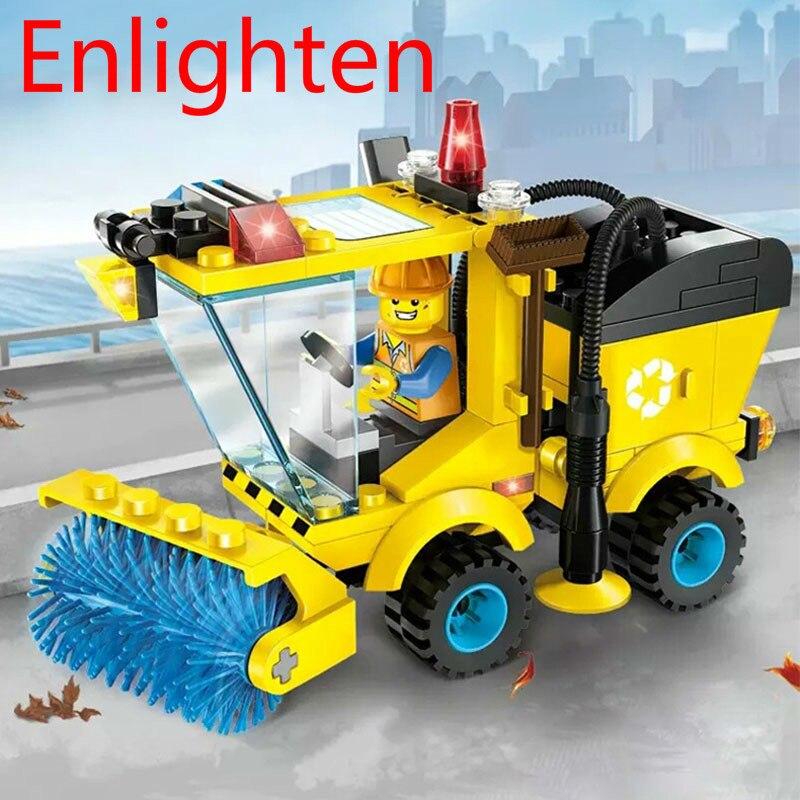 Süß GehäRtet 102 Stücke Erleuchten Stadt Serie Kehrmaschine Auto Baustein Stellt Ziegel Modell Diy Pädagogisches Spielzeug Für Kinder Kinder