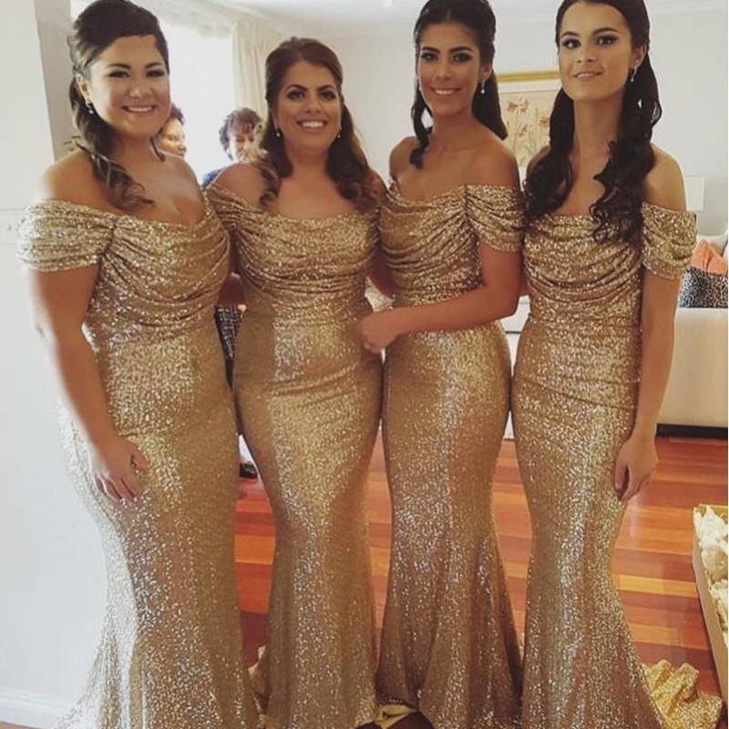 Champagne Gold Sequins Mermaid Bridesmaid Dresses Long Country Off Shoulder Beach Wedding Party Guest Gowns Maid