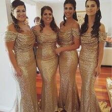 527b3eba136 Vestidos largos de dama de Honor de sirena con lentejuelas doradas de  champán con hombros descubiertos