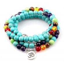 108 Chakra Bracelet 7 chakra Meditation Pendent for Women Pure Natural Stone Bangle